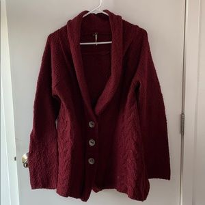 Free People wool maroon flowy cardigan sweater